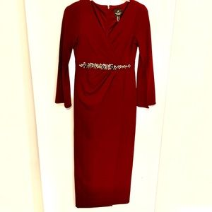 Adriana Papell Long Sleeve Dress, Beaded Waistline